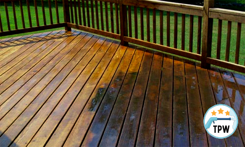 A clean deck after pressure washing